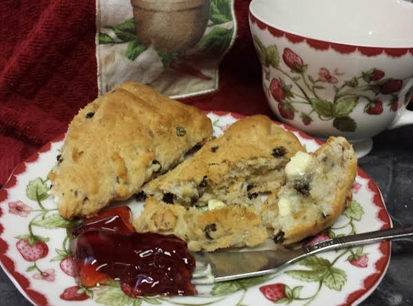 Scones With Caraway Seed And Black Currants, Served With Good Butter And Red Currant Jelly.