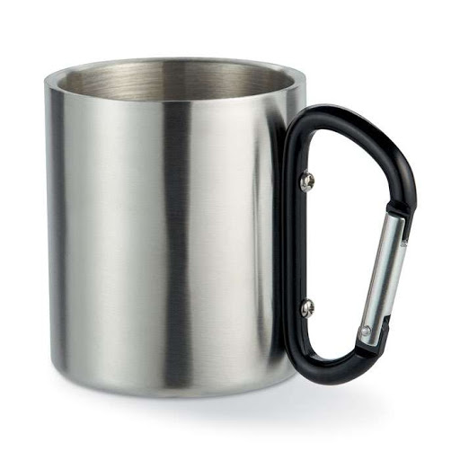 Steel mug with carabiner handle - Black