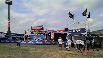 Photo: The Speed TV Stage broadcasting both Trackside and Raceday.