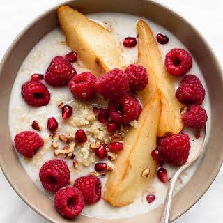 Sweet Quinoa Porridge with Maple Roasted Pears.