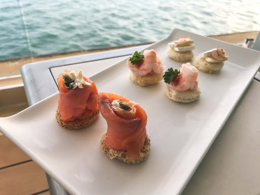 Canapes-on-Norwegian-Jade.jpg - Canapes on the veranda of a balcony stateroom on Norwegian Jade.