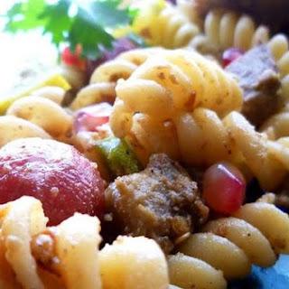Fusilli With Eggplant & Sausage Chunks - Mediterranean Style Pasta