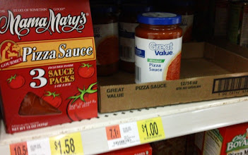 Photo: Next thing I needed- Pizza sauce. Walmart had four brands that I considered. All were reasonably priced.