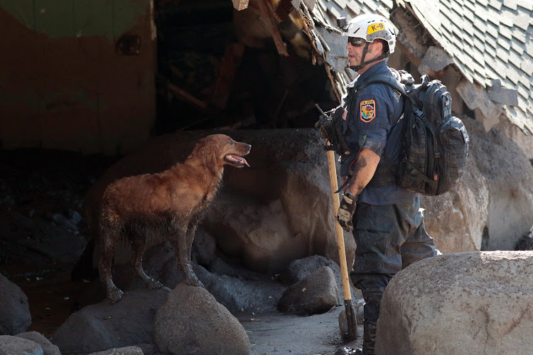 A search and rescue dog is guided through properties after a mudslide in Montecito, California, January 11, 2018.