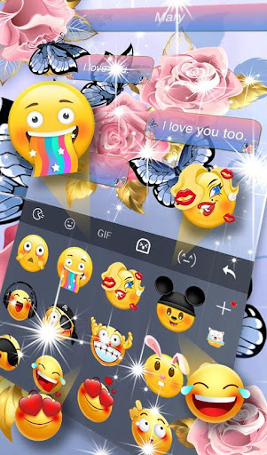 Download Pink Rose Blue Butterfly Keyboard Theme MOD APK 5