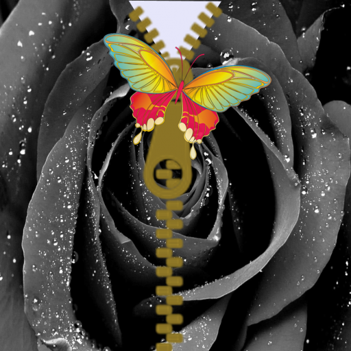 Black flower zipper lockscreen