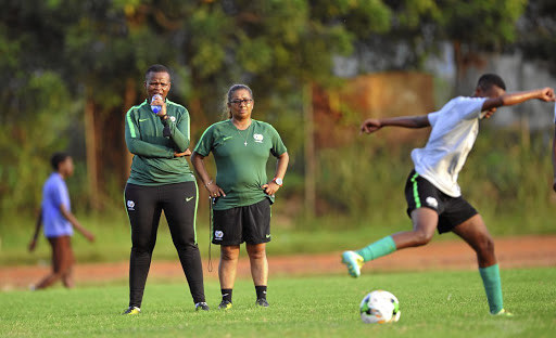 Banyana assistant coach Thinasonke Mbuli, (left) is with head coach Desiree Ellis as they kept their eyes firmly on the team's recent training. /Sydney Mahlangu/BackpagePix