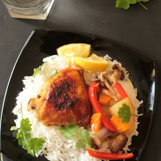 No Oil Baked Lemon Chicken Thighs & Vegetables