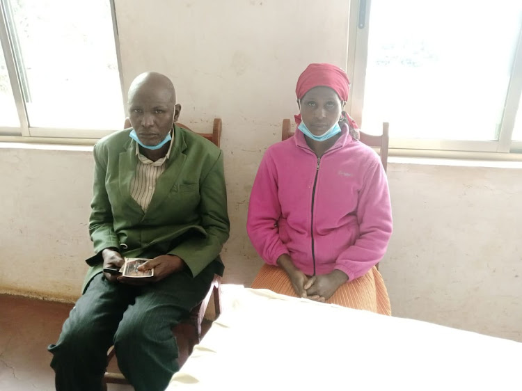 Kariuki parents Patrick Weru and Peris Wangui who are now appealing to Kenyans to assist in getting back their son.