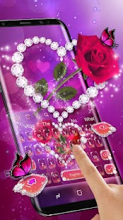 Shine Red Heart Rose Keyboard