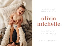 Olivia's Birth Announcement - Baby Card item