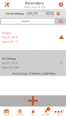 Car Maintenance & Gas Log App - screenshot