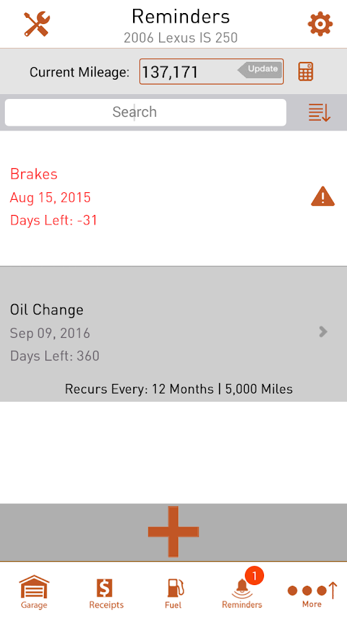 Car Maintenance & Gas Log App- screenshot