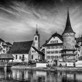 Old Town Lucerne by Pravine Chester - Black & White Buildings & Architecture ( monochrome, photograph, black and white, buildings, architecture, lucerne, city )