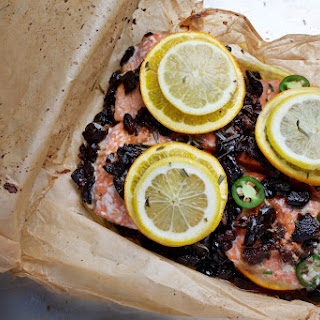 Salmon Baked in a Bag with Citrus, Olives and Chilies Recipe