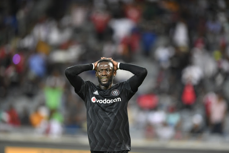Orlando Pirates' Zambian forward Augustine Mulenga reacts after missing a chance during the goalless Absa Premiership draw at home against Maritzburg United at Orlando Stadium in Soweto on Saturday December 1 2018.