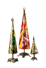 Photo: PRIMITIVE TWIG Exclusively ours. A collection of festive trees made of vintage tins and found objects. Handmade in New York. Small, 12″. $450. Medium, 18″. $695. Large, 24″. $995. USA. Seventh Floor. 212 872 2686