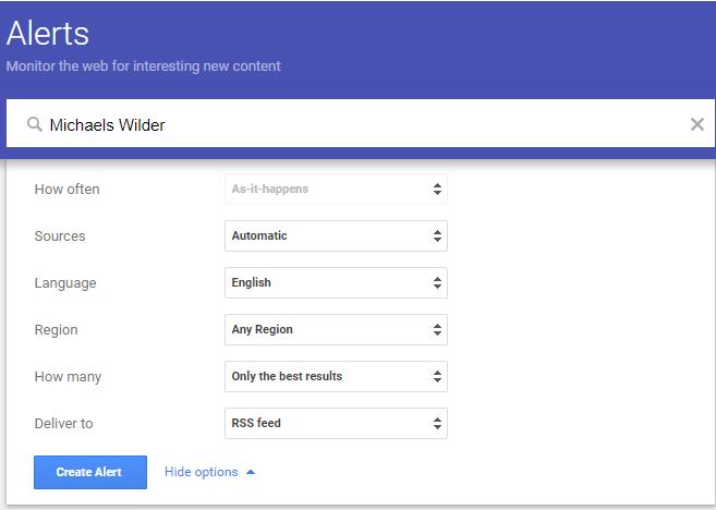 Google Alerts screen
