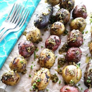 Grilled Basil Pesto Potato Skewers.