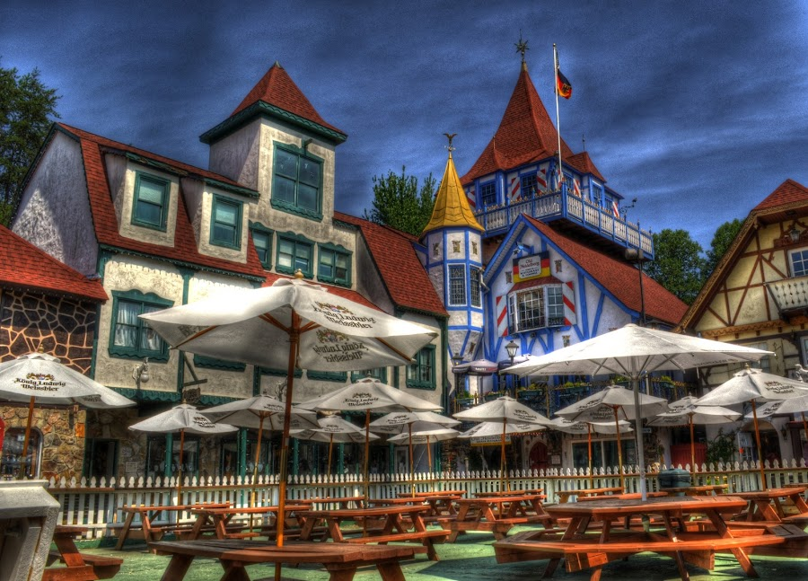 Helen Lunch by Greg Mimbs - City,  Street & Park  Markets & Shops ( tables, tokai art station, sky, umbrellas, helen, buildings, georgia, urban living, alpine village,  )