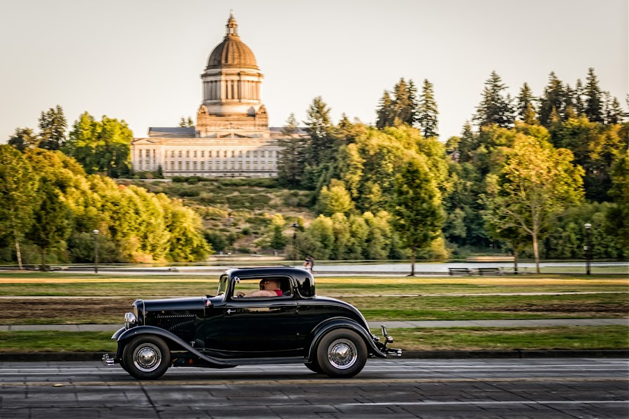 Coupes and Capitals by Scott Wood - Transportation Automobiles ( car, capitol lake, sky, grass, sunset, coupe, trees, summer, capital, olympia )
