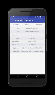 VIN decoder for Mercedes Benz - screenshot