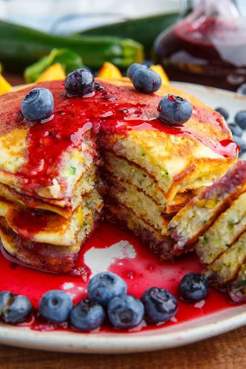 "Honey Lemon Zucchini Pancakes""Light, fluffy and moist zucchini pancakes with a hint..."