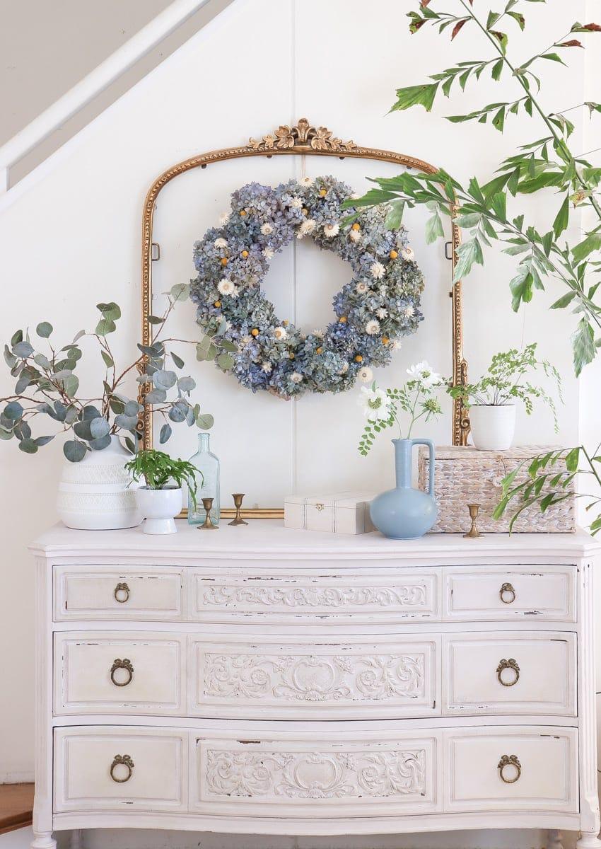 Hanging A Dried Hydrangea Wreath
