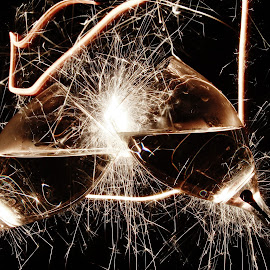 Sparkling new year by Peter Salmon - Artistic Objects Glass ( glasses, glass, trails, light, sparklers )