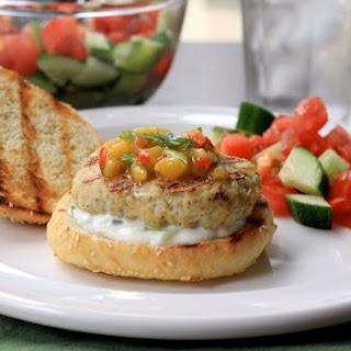 Indian Chicken Burgers with Mango Salsa and Cucumber Raita