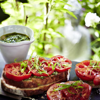 Open-Faced Tomato and Pesto Sandwiches.