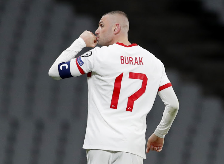 Turkey's Burak Yilmaz celebrates scoring their fourth goal to complete his against Netherlands at Ataturk Olympic Stadium in Istanbul, Turkey, March 24 2021. Picture: REUTERS/MURAD SEZER