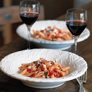 Pasta with Roasted Garlic-Tomato Sauce and Basil