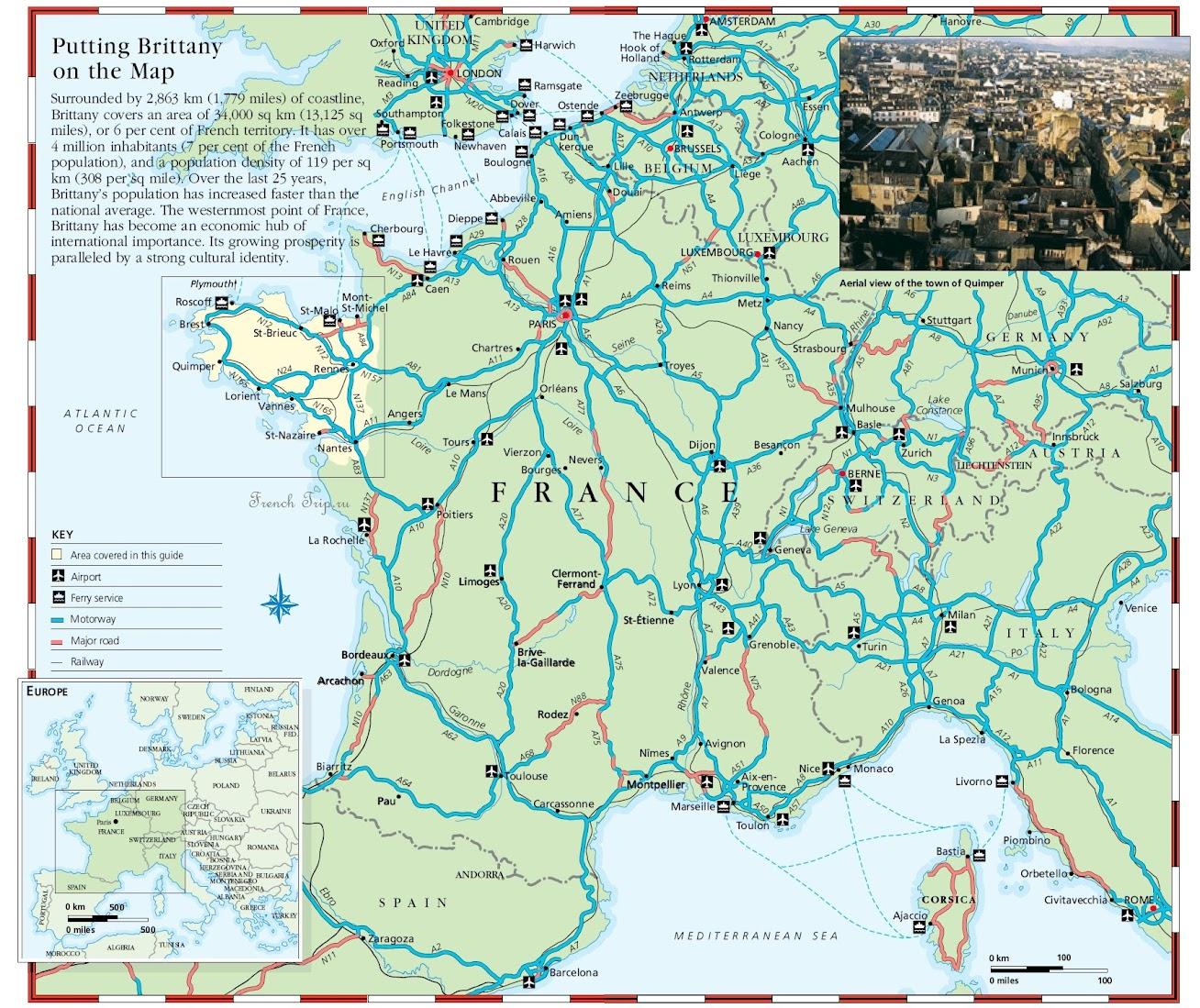 Бретань на карте Франции - Карта Бретани - скачать бесплатно - достопримечательности, города, регионы, схема дорог. Что посмотреть в Бретани. Путеводитель по Бретани и Франции.
