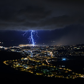 Direct hit by Matic Cankar - Landscapes Weather ( thunder, lightning, thunderstorm, trieste, night, storm, rain, nightscape, city,  )