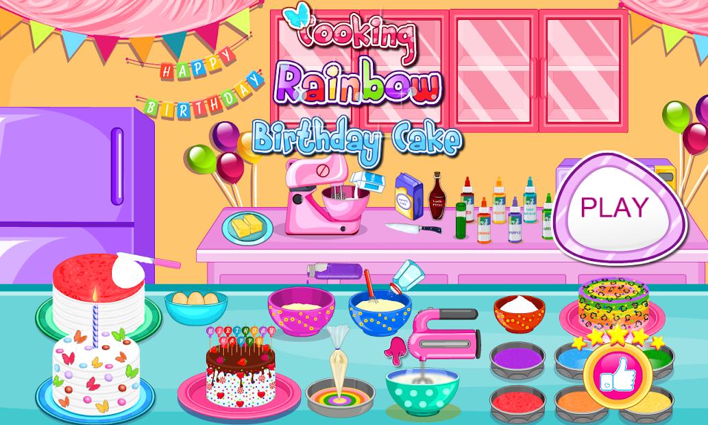 Cooking Rainbow Birthday Cake Android App Screenshot