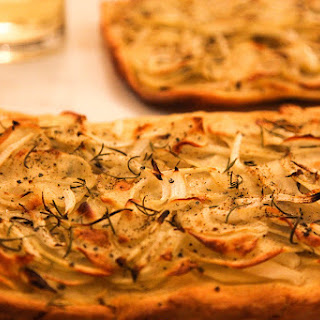 Potato Pizza with Onions, Fresh Rosemary, Olive Oil, Sea Salt.