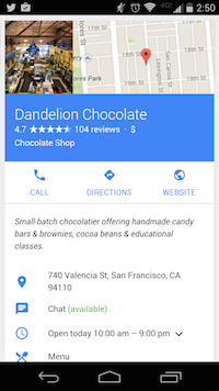 Fiche google my business sur mobile