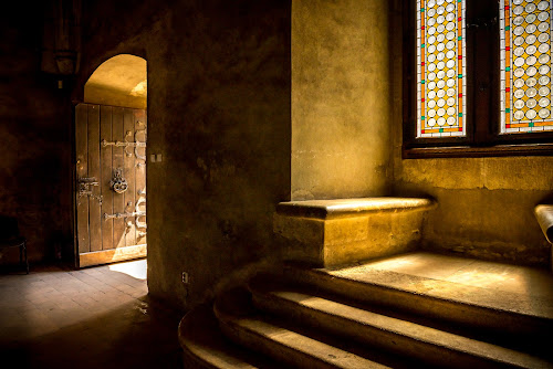 Outside Light and Inner Darkness by Andreea Alexe - Buildings & Architecture Public & Historical ( old, hunedoara, door, romania, travel, sun rays, heritage, contrast, landmark, stairs, window, shadow, castle, historical, medieval, culture,  )