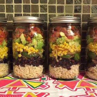 Mexican Vegan Burrito Bowl Mason Jar Salad - Chipotle Style!.