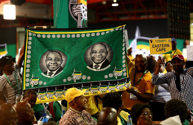 Cyril Ramaphosa supporters celebrate after he was announced as the new ANC president in Johannesburg. Picture: MASI LOSI
