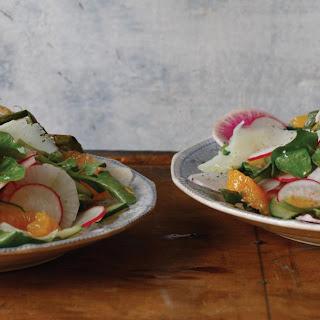 Radish Salad with Cucumber, Watercress, Orange Segments, and Sheep's Milk Cheese