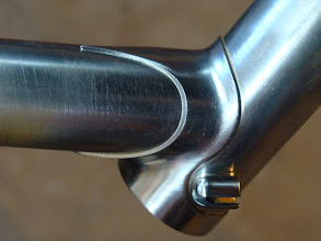 Photo: Long point on the down tube too, and split guides for the head tube cable stops.