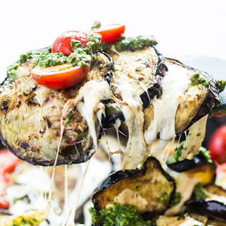Grilled Eggplant Mozzarella Stacks with Pesto and Tomatoes