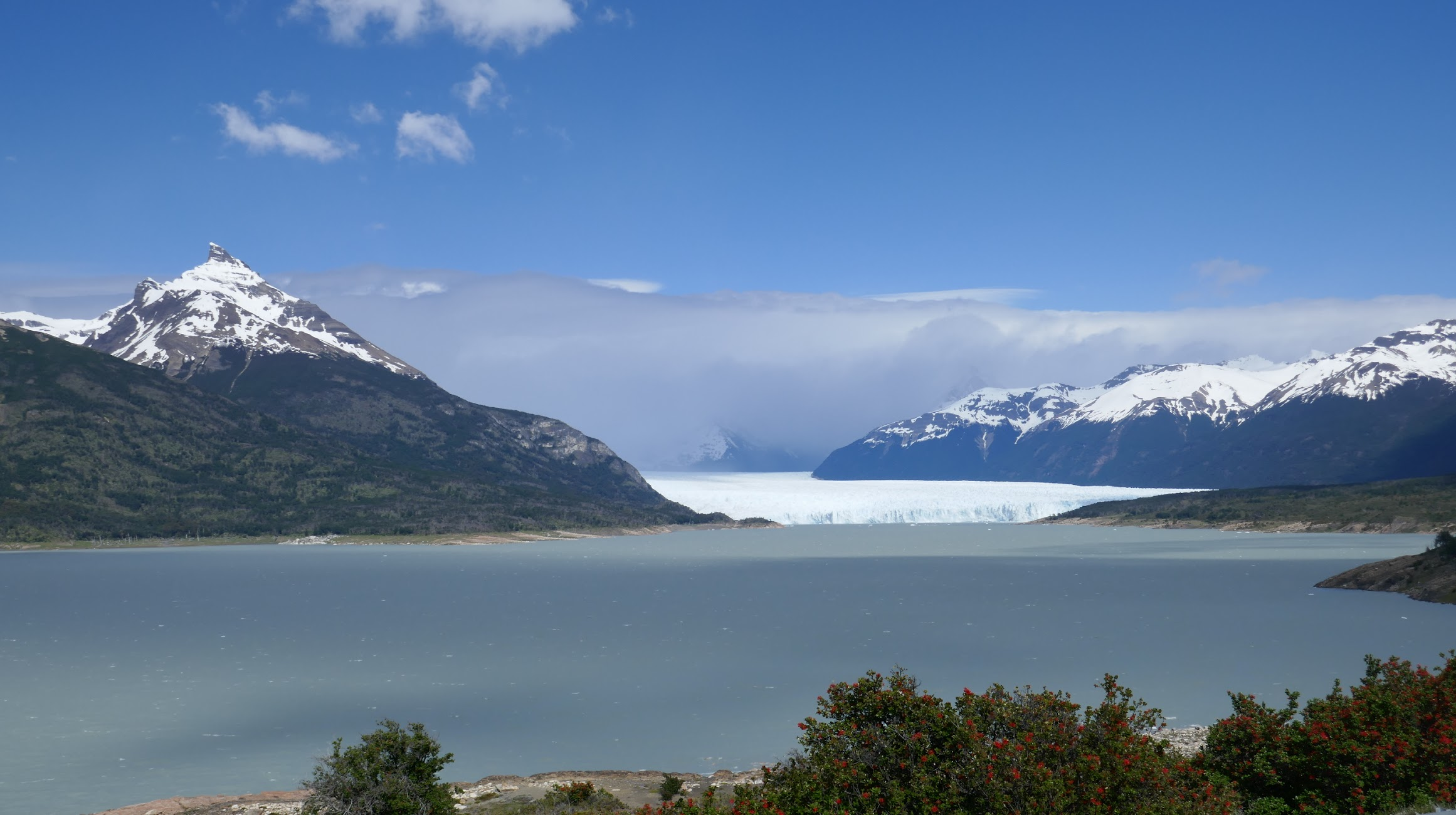 First view of the glacier across Brazo Rico
