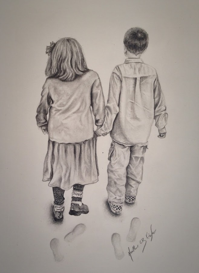 Meggie and Charlie by Heather Kiefer - Drawing All Drawing ( graphite, pencil drawing )