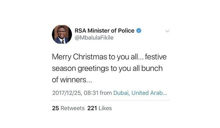 Minister Fikile Mbalula's tweet from DubaI. Picture: TWITTER