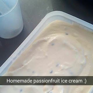 Egg-less Passionfruit ice cream.