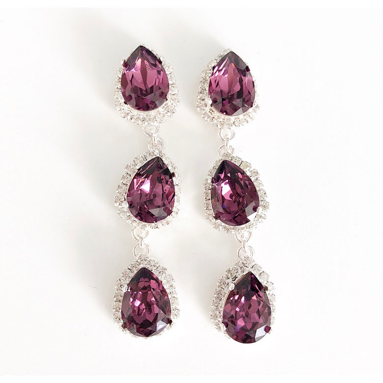 SWAROVSKI® ÖRHÄNGEN RHINESTONE THREE DROPS PURPLE