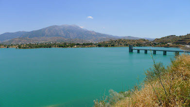 Photo: Across Vinuela reservoir the Sierra de Tejeda
